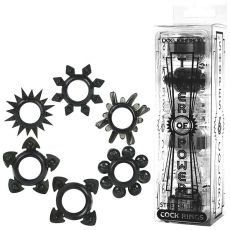 Doc Johnson Tower Of Power Cock Rings 6-Pack Penis Stay Hard Erection Sex Toy