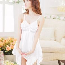 White Baby Doll Lingerie with slip thong underwear XS for sex doll