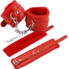 FLUFFY FUR Faux Leather HANDCUFFS BDSM Restraints Cuffs Fetish RED