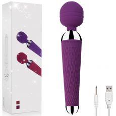 "8"" Massaging Wand USB 10-Speed Vibrator Massager Purple"