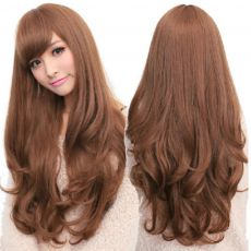 "Long Wig with Fringe & curled ends 28"" Brown Chestnut"