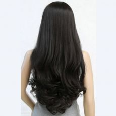 "Long Wig with Fringe & curled ends 28"" Black"