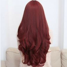 "Long Wig with Fringe & curled ends 28"" RED"