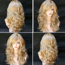 "Long Wig with Fringe & curled ends 20"" 50CM BLOND with Blonder tips"