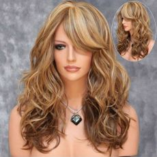 "Long Wig with Fringe & curled ends 20""  50CM BROWN WITH BLOND TIPS"