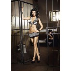 Tie Top, Mini Skirt and cuffs with chain (D)-B-1302-ML