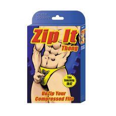Zip It Thong Novelty Underwear Black