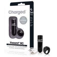 Charged Vooom Remote Control Vibrating Bullet Black