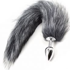 Stainless Steel ANAL BUTT PLUG Faux Fur Fox Tail GREY