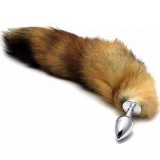 Stainless Steel ANAL BUTT PLUG Faux Fur Fox Tail KHAKI