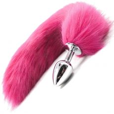 Stainless Steel ANAL BUTT PLUG Faux Fur Fox Tail PINK