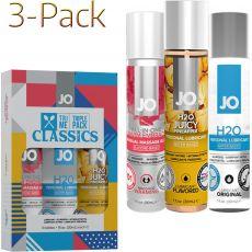 SYSTEM JO TRI ME CLASSICS 3-Pack Personal Lubricant Gel H20 + Warm Massage