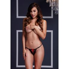 Black Lace Up Panty Red Ribbon-B-3116-BLK-L