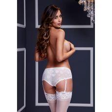 White Rose Open Crotch Boyshort Panty (D)-B-3122-WHT-M