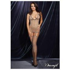 Metallic Black Diamond-Net Garter Dress w/garters and Thigh Highs (N)