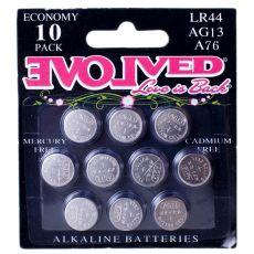 Evolved LR44 Alkaline Batteries 10-pack