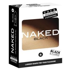 Four Seasons Naked Black Condoms 6-pack Retail Box
