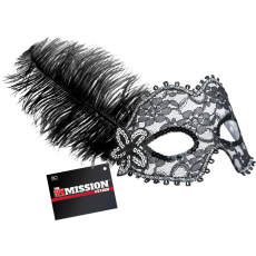 Feathered Masquerade Masks Black-White