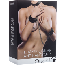 Leather Collar And Handcuffs (Black)