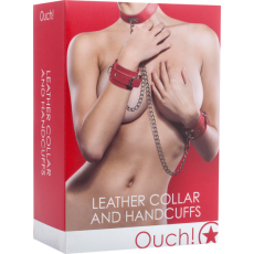 Leather Collar And Handcuffs (Red)